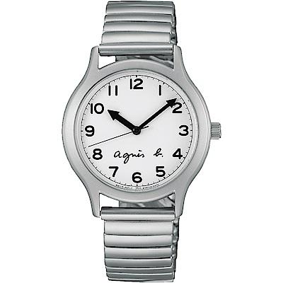 agnes b. 復刻經典限量數字女錶(BH8017X1)-銀/34mm