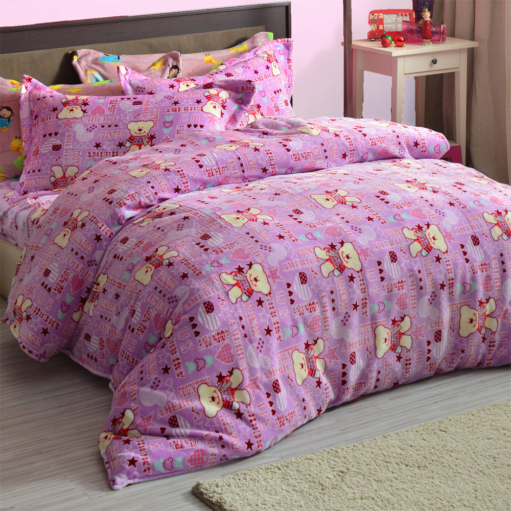 AmoreCasa 小熊之星 頂級法蘭絨加大舖棉床包被套組