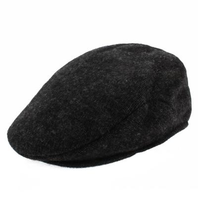 RALPH LAUREN POLO 簡約單色混羊毛扁帽-灰黑色