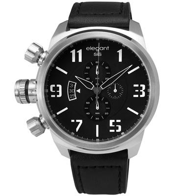 elegantsis 完美狙擊硬派軍事風皮革腕錶-黑x銀/47mm