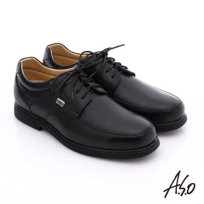 A.S.O 超能耐 綁帶摔花牛皮寬楦奈米皮鞋 黑色