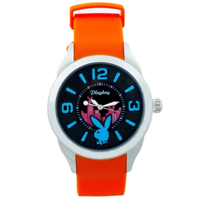 PLAYBOY 紐約城系列錶 橙色帶+銀框/42mm
