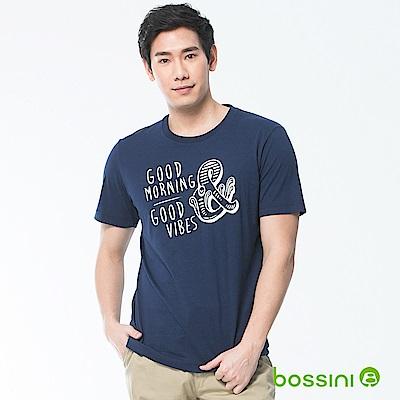 bossini男裝-印花短袖T恤25海藍