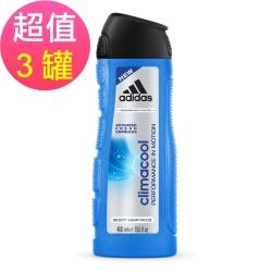 adidas愛迪達 男用三效動感香氛潔顏洗髮沐浴露x3罐(400ml/罐)