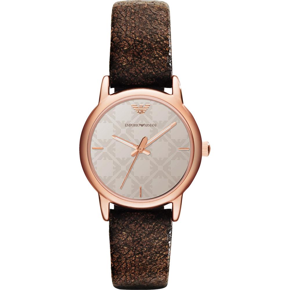 ARMANI Classic 優美佳人時尚腕錶-銀x玫塊金框/26mm