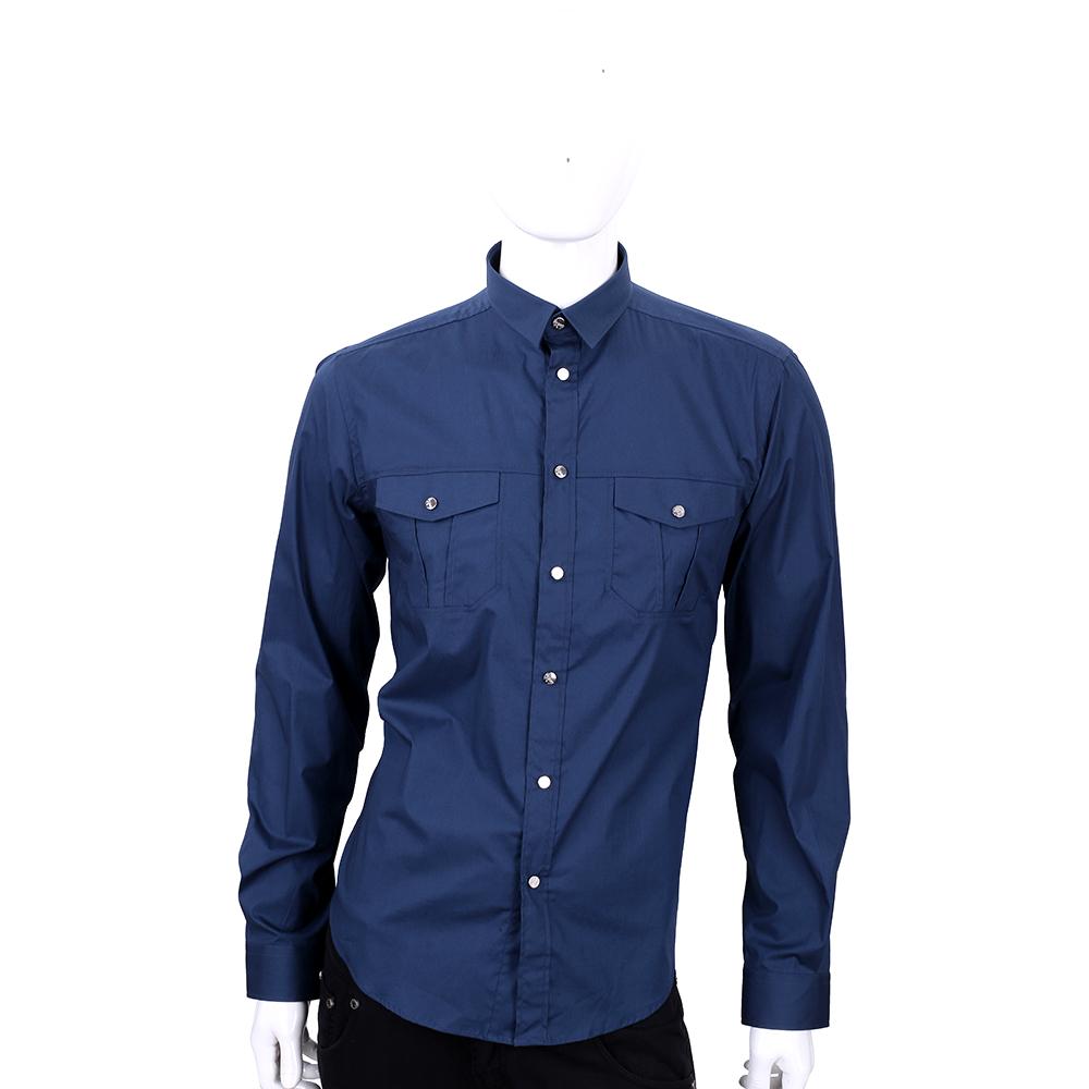 VERSACE 深藍色口袋造型長袖襯衫
