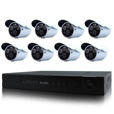 奇巧 8路AHD 720P數位高清遠端監控套組(含雙模三陣列燈百萬攝影機x8)