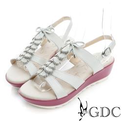 GDC-清新風格蝴蝶結流蘇真皮楔型厚底涼鞋-白色