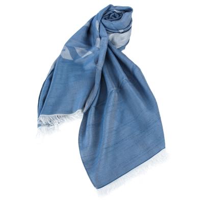 ARMANI COLLEZIONI 經典虛線大LOGO素面圍巾-藍