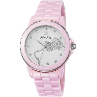 HELLO KITTY 凱蒂貓甜心夢幻陶瓷手錶-粉紅x銀/ 36 mm