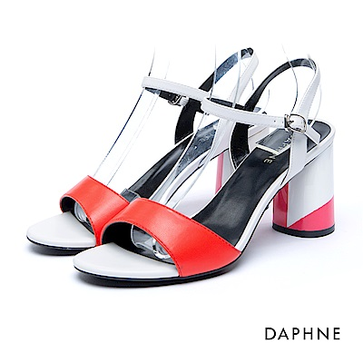 達芙妮DAPHNE 涼鞋-撞色繞踝扣帶粗高跟涼鞋-紅