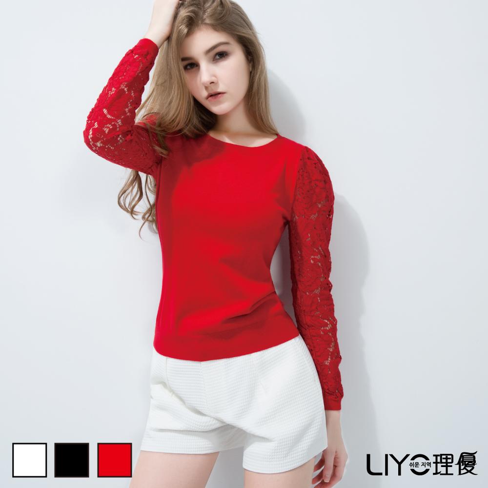 LIYO理優歐風袖接鏤空蕾絲針織上衣(紅色、白色、黑色)