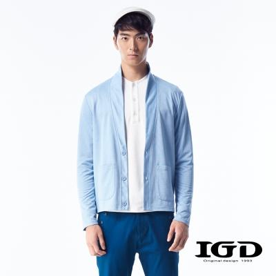 IGD英格麗-柔感棉質翻領前開襟外套