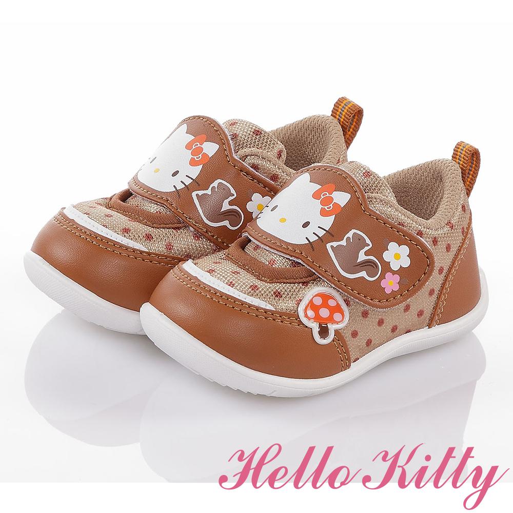HelloKitty 森林系列 輕量透氣抗菌減壓寶寶學步童鞋 咖啡
