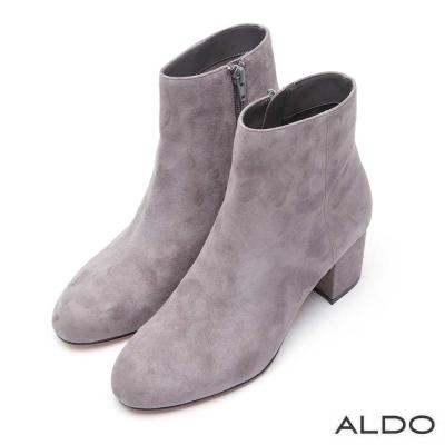 ALDO 原色麂皮尖頭拉鍊粗跟短靴~氣質灰色