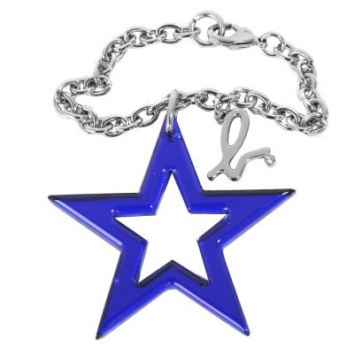 agnes b. 亮面星星吊飾-寶藍色
