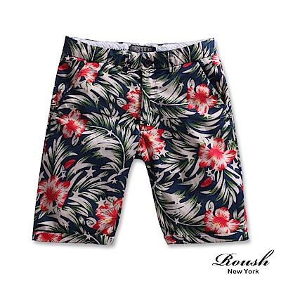 ROUSH-美式花紋修身版型洗水百慕達短褲