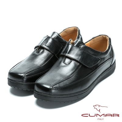 CUMAR 舒適真皮 超輕休閒魔術貼皮鞋-黑色