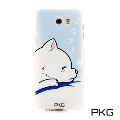 PKG Samsung C9PRO空壓氣囊保護殼-浮雕彩繪-呼呼狗