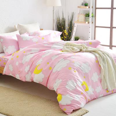 美夢元素 天鵝絨雙人四件式 全鋪棉兩用被床包組-棉花糖