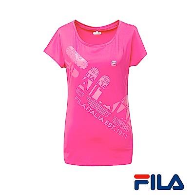 FILA女性吸排/抗UV大圓領T恤(亮麗桃) 5 TER- 1314 -PC