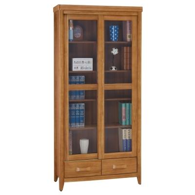 愛比家具 絲莉愛2.7尺柚木實木推門下抽書櫃