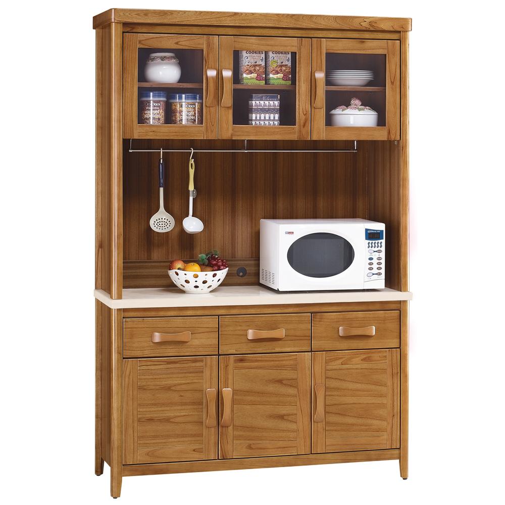 愛比家具 絲莉愛4.2尺柚木實木石面餐櫃組(上+下座)