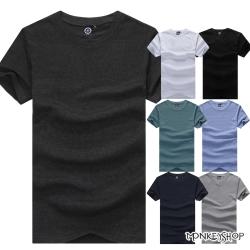 小猴子的賣場 MIT純綿圓領多彩色系素面短袖T恤-3色
