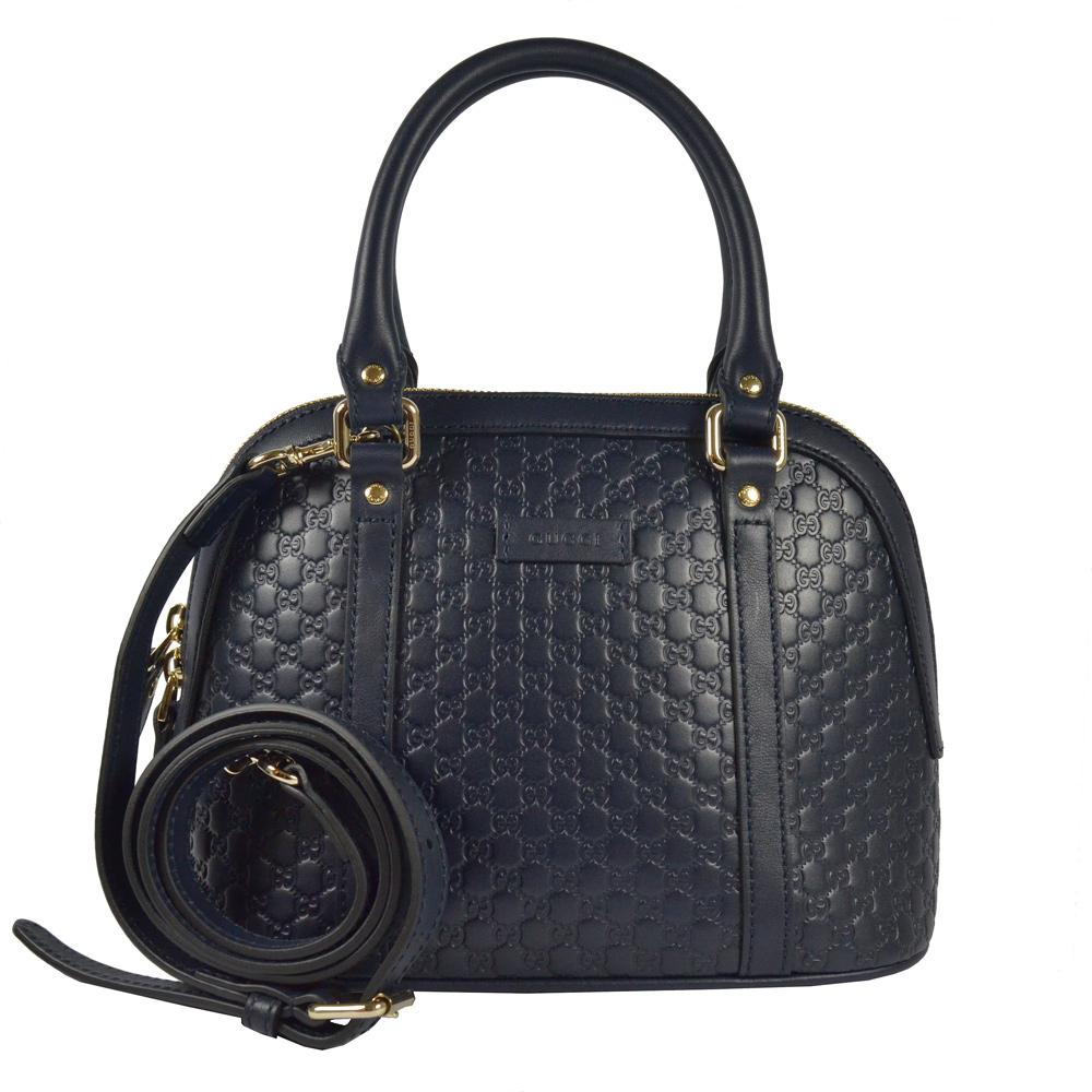 GUCCI Guccissima系列小LOGO牛皮兩用貝殼手提包(深藍/小) @ Y!購物