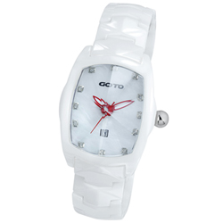 GOTO 簡約晶鑽陶瓷腕錶-白x紅/34mm