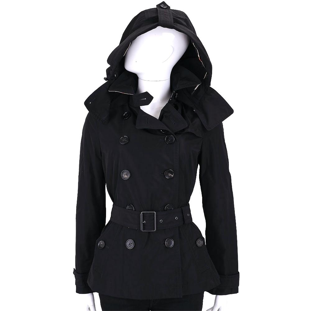 BURBERRY BRIT系列 Balmoral 短版連帽防雨風衣(黑色)