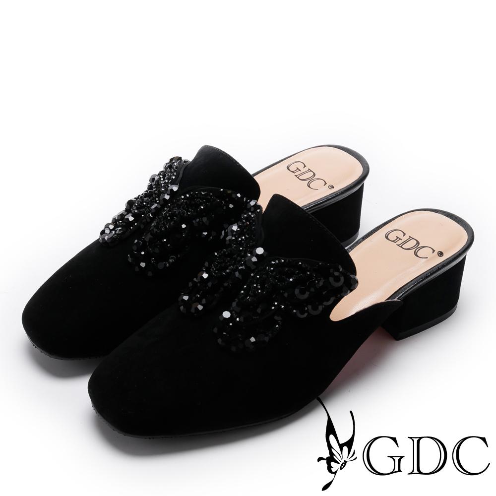 GDC-真皮典雅水鑽蝴蝶低跟拖鞋-黑色