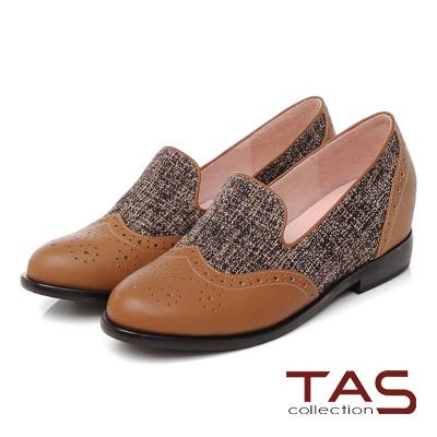 TAS 牛津拼接毛呢內增高樂福鞋-復古卡其