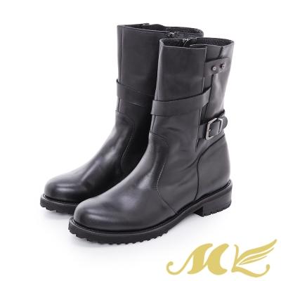 MK-台灣全真皮-中統寬口繞帶平底粗跟短靴-黑色