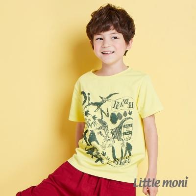 Little moni 恐龍世界印圖棉T 黃色