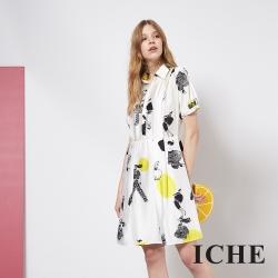 ICHE 衣哲 輕時尚人像印花造型襯衫洋裝