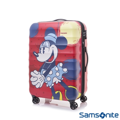 Samsonite新秀麗-Diseny-米妮聯名款24吋TSA-防刮可擴充行李箱-霧面紅