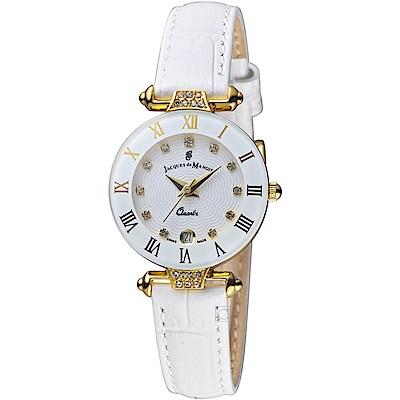 Jacques du manoir彩虹系列時尚復古腕錶(RWHS 白)