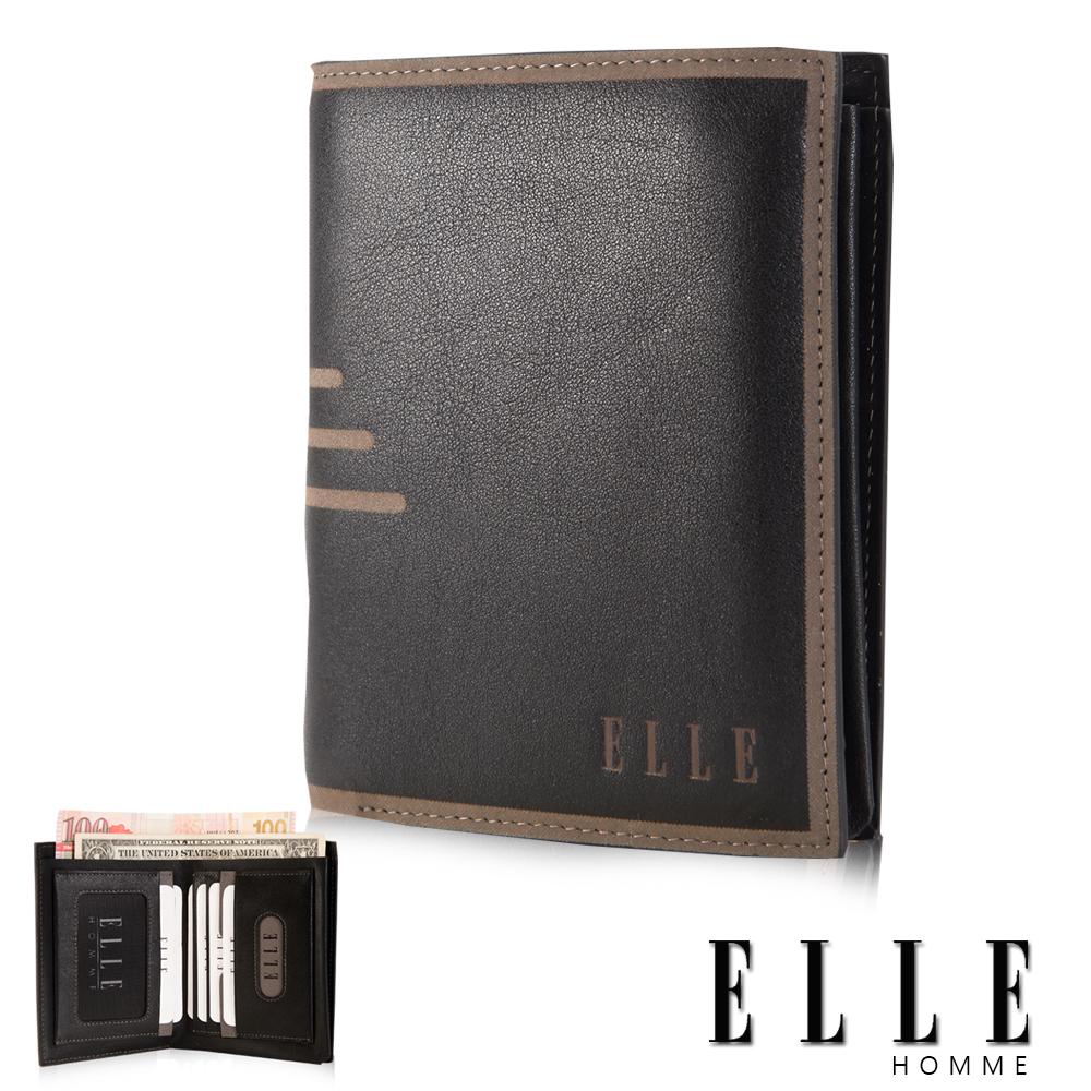 ELLE HOMME 法式精品短皮夾橫條壓紋頭層皮、鈔票多層/證件多層/名片格多層設計-黑