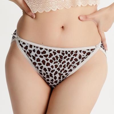 內褲 舒適透氣100%蠶絲中低腰三角內褲 (豹紋灰) Chlansilk 闕蘭絹