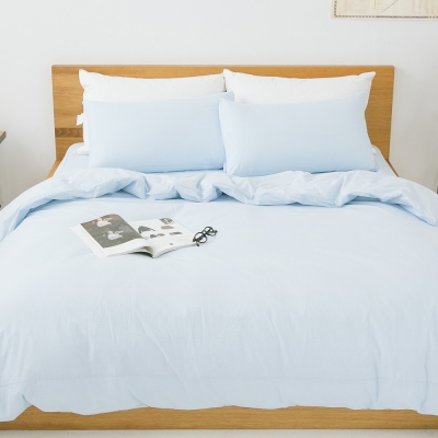 LAMINA 純色-靜藍-純棉四件式被套床包組(加大)