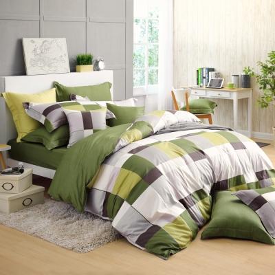 GOLDEN TIME-完美主義者-200織紗精梳棉-兩用被套床包組(綠-加大)