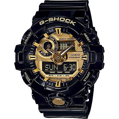 CASIO卡西歐 G-SHOCK 人氣經典黑金雙顯手錶