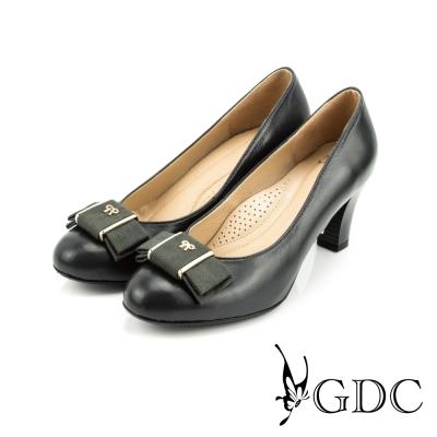 GDC-都會-氣質緞面蝴蝶結羊皮低粗跟鞋-灰色
