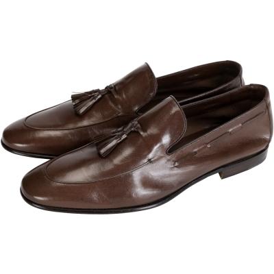MORESCHI 復古流蘇牛皮樂福鞋(男款/咖啡色)