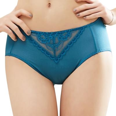 思薇爾 花緹系列M-XXL蕾絲中腰三角內褲(磚瓦藍)