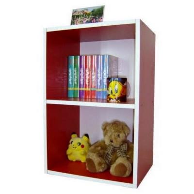 巧菲司-美背式2格間隙收納櫃-書櫃紅白色