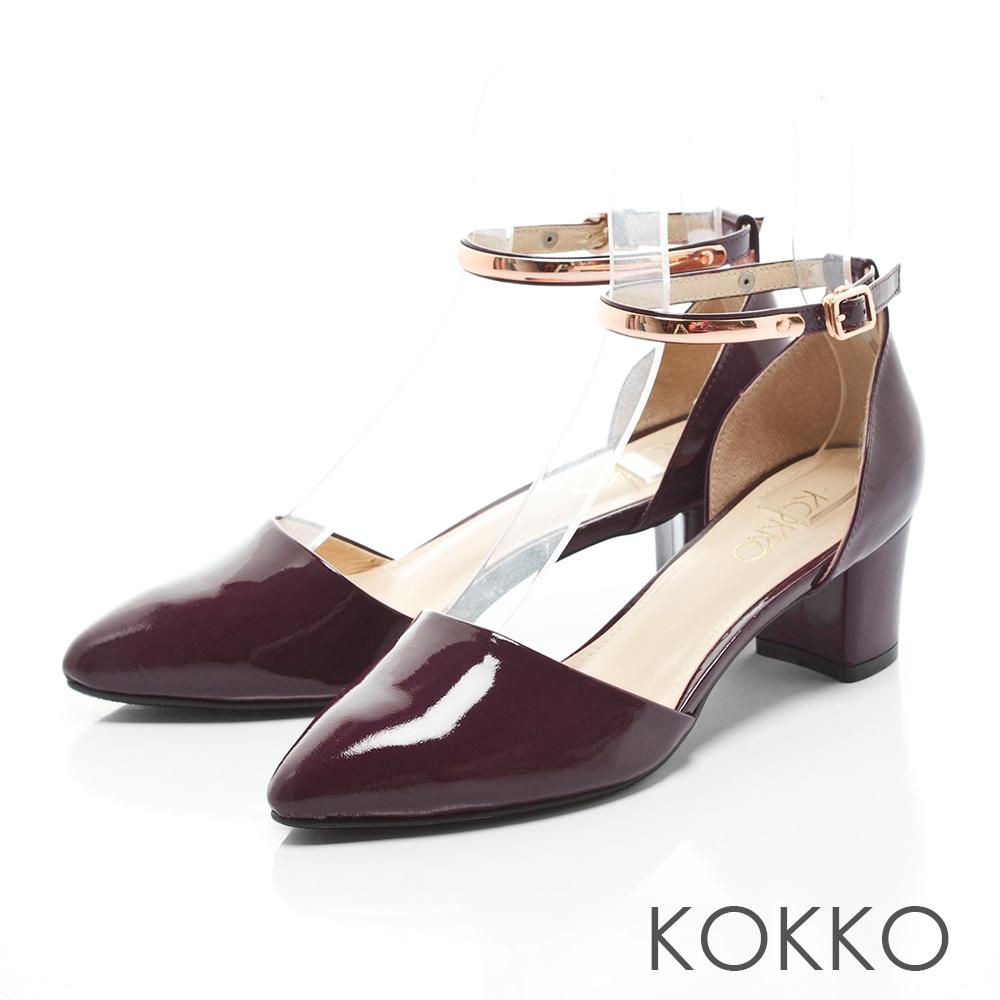 KOKKO-真皮法式優雅金屬繫踝粗跟鞋 - 漆皮紅