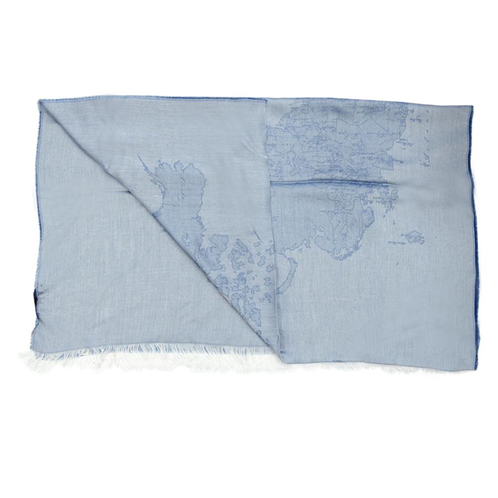 Alviero Martini 義大利地圖 復古渲染地圖絲巾-藍(80X180)
