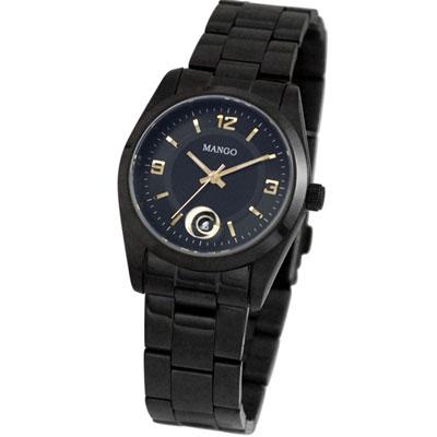 MANGO 注目之星日期時尚腕錶-IP黑/32mm